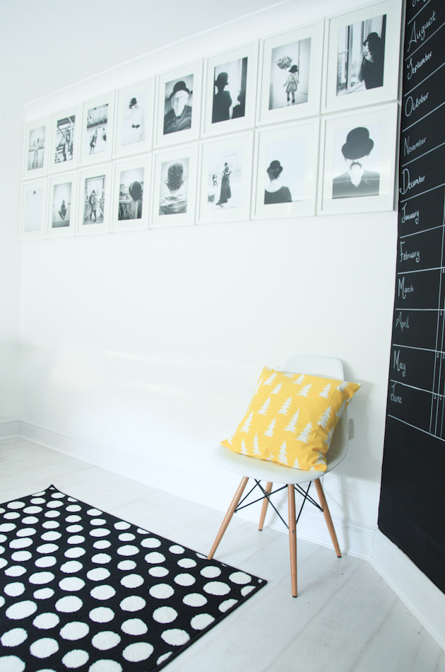 Black and white chalkboard wall photo wall