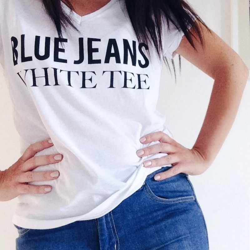 White tee blue jeans
