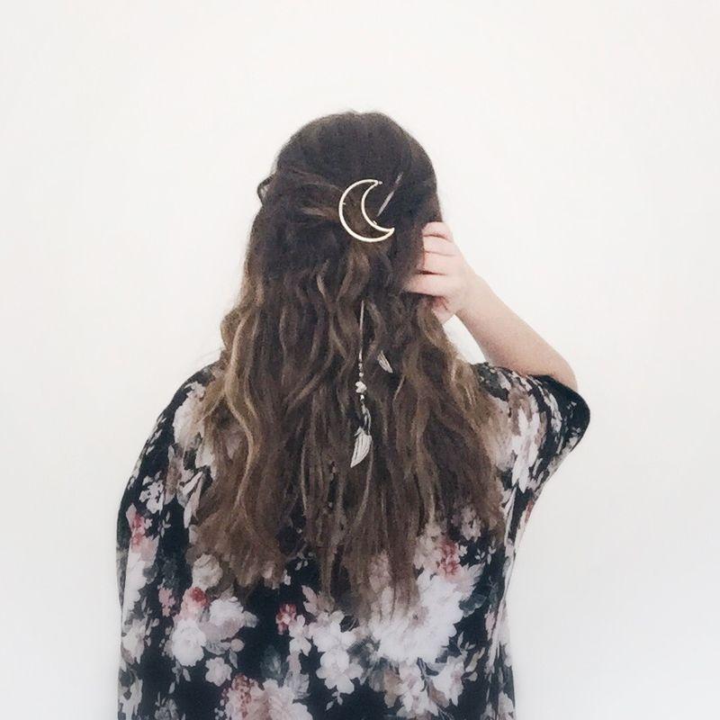 Moon hair brooch